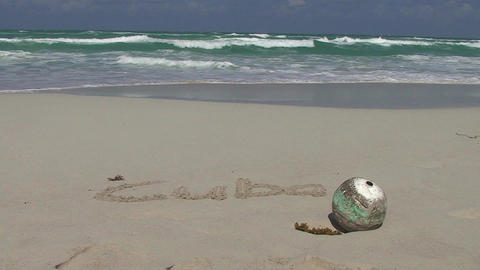 Varadero Cuba written in sand at the beach Footage