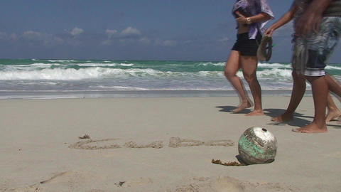 Varadero Cuba written in sand at the beach 3 Stock Video Footage