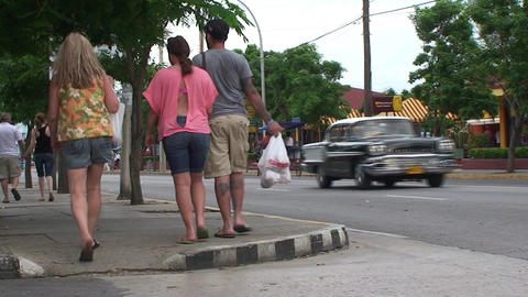 Varadero oldtimer passing by on the street 3 Footage