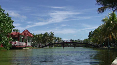 Varadero park with pond and bridge 2 Stock Video Footage