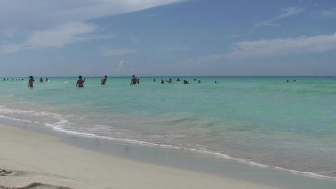 Varadero people in the blue sea Stock Video Footage