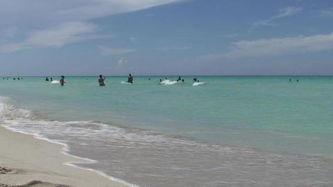 Varadero people in the blue sea Stock Video Footage
