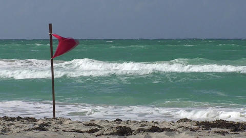 Varadero Red danger flag at the beach Footage