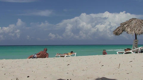 Varadero relaxing at the beach 2 Stock Video Footage