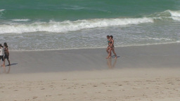 Varadero Sexy Girls Walking On The Beach 6 stock footage