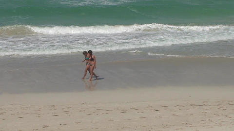 Varadero Sexy girls walking on the beach 6 Stock Video Footage