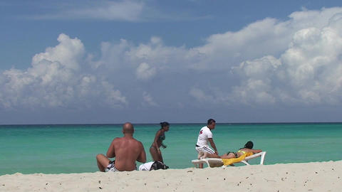 Varadero two man and women at the beach Footage