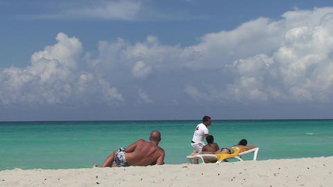 Varadero two man and women at the beach Stock Video Footage