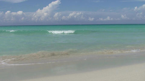 Varadero women in the blue sea 3 woman passing by Stock Video Footage