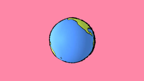earth map with pink background Animation