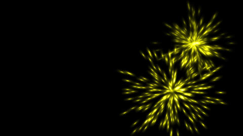 yellow fireworks and particles explosion at night Stock Video Footage