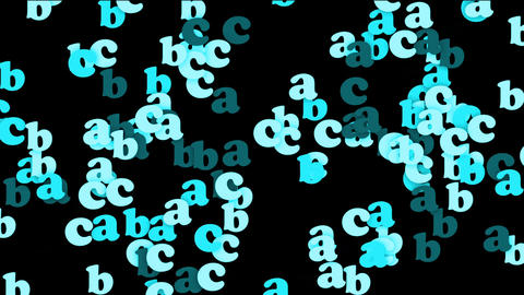 blue alphabet abc,cartoon letters paper card Animation