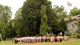 Thai School Children at Morning Assembly Stock Video Footage
