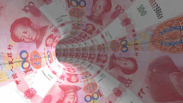 RMB 100 background tunnel hole Stock Video Footage