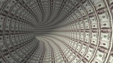 100 dollar background tunnel hole Animation