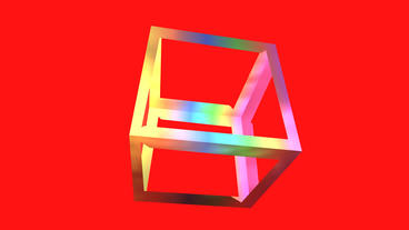 Rotation Rainbow Colors Cube Frame,tech Web Virtua stock footage