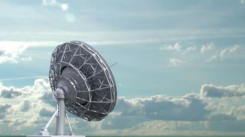 rotating radio telescope on sky background Stock Video Footage