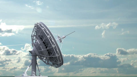 rotating radio telescope on sky background Animation