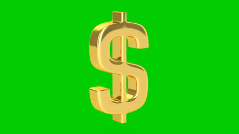 Golden Dollar Sign - Isolated Animation
