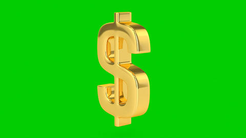 Golden Dollar Sign - Isolated Stock Video Footage