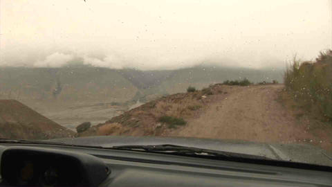 Driving in Wakhan Valley Rain Tajikistan & Afghani Stock Video Footage