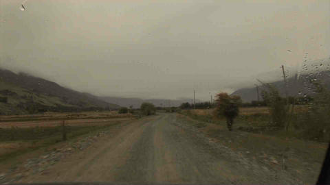 Driving in Wakhan Valley Rain Tajikistan 6 Stock Video Footage