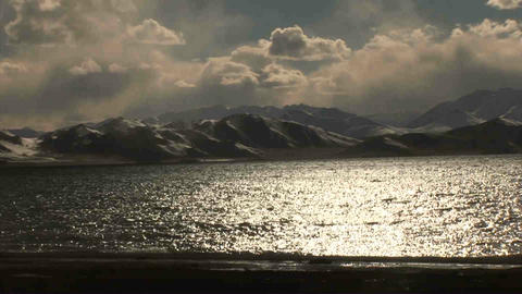 Pan View on Karakul Lake Tajikistan 2 Stock Video Footage