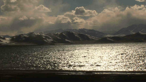 Pan View on Karakul Lake Tajikistan 2 Stock Video Footage