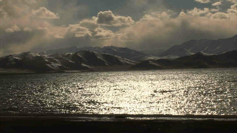 Pan View on Karakul Lake Tajikistan 2 Footage