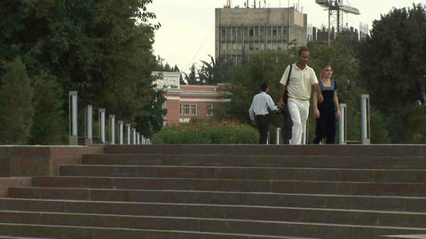 Rudaki Park People Walking Dushanbe Tajikistan Stock Video Footage