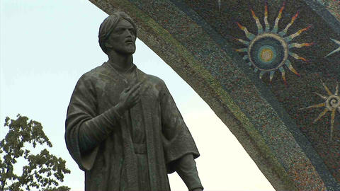 Rudaki Park Rudaki Statue Close Dushanbe Tajikista Stock Video Footage