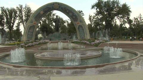 Rudaki Park Rudaki Statue Dushanbe Tajikistan 2 Stock Video Footage