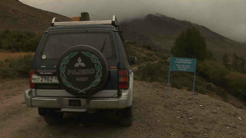 View Car Wakhan Valley Tajikistan & Afghanistan Stock Video Footage