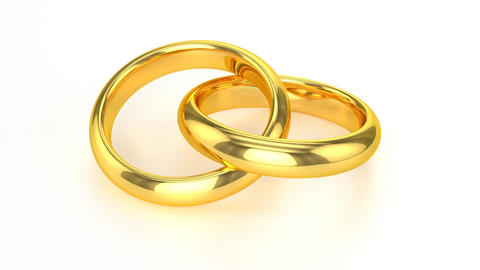 Realistic Golden Wedding Rings Stock Video Footage