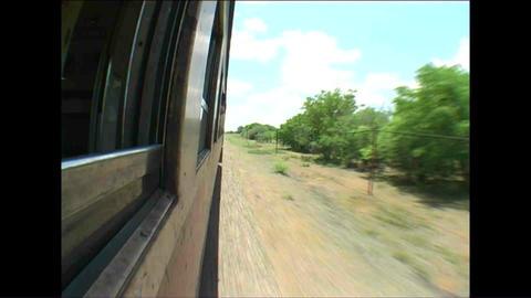 On the train Fisheye Landscape from train Zimbabwe Stock Video Footage