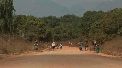 Dusty Road in Mozambique Stock Video Footage