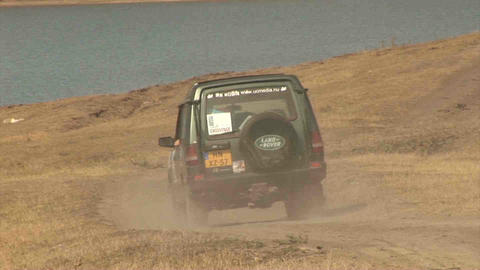 4WD Car Driving offroad in Kazakhstan Stock Video Footage