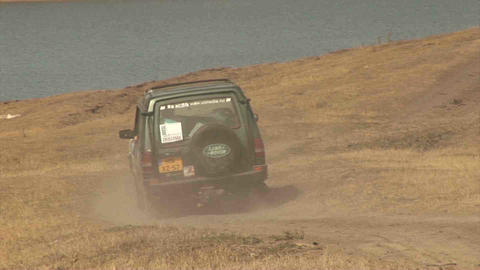 4WD Car Driving offroad in Kazakhstan Footage