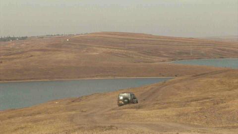 4WD Car Driving offroad in Kazakhstan Stock Video Footage