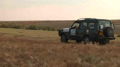 Car on Steppe Kazakhstan Stock Video Footage