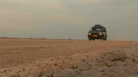 Car Passing By Offroad Kazakhstan Stock Video Footage