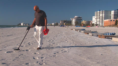 Man with metal detector Footage