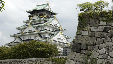 Osaka castle Stock Video Footage
