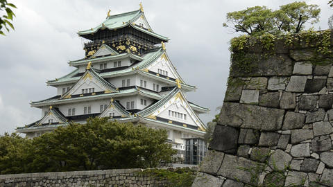 Osaka castle Stock Video Footage