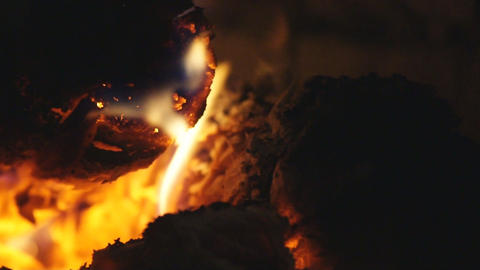 Smoldering firewood in a furnace 04 Stock Video Footage