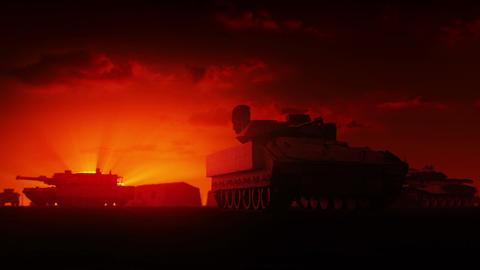Military Tanks at sunrise Stock Video Footage