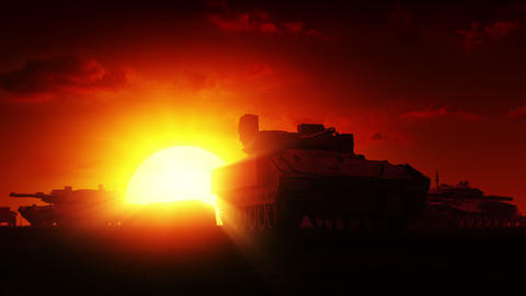 Military Tanks at sunrise Animation