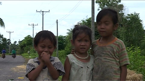 Children in front of camera smiling Stock Video Footage