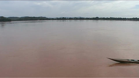 Don Khong, view over river, longboat Stock Video Footage