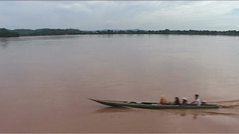 Don Khong, view over river, longboat Footage